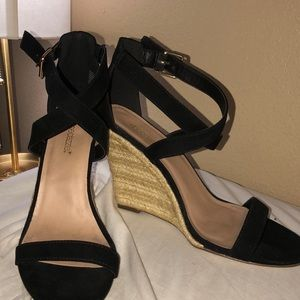 Suede high wedge sandal